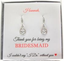 wedding photo - Bridesmaids Earrings, Silver Drop Earrings, Bridesmaid Gifts, Dangle CZ Earrings, Bridal Earrings, Bridal Silver Earrings