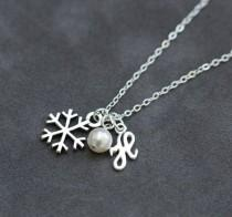 wedding photo - Sterling Silver Snowflake Necklace, Personalized Initial Jewelry, Winter Bridesmaid Gift, Pearl Initial Necklace