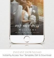 wedding photo - SnapChat Geofilter, Wedding SnapChat Filter, INSTANT DOWNLOAD, 100% Editable Text, Self-Editing Template, Mr and Mrs Filter, DIY  #034-103GF
