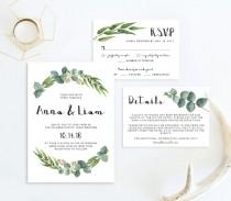 wedding photo - Garden Wedding Invitation Suite Template Download Nature Wedding Invitation Forest Wedding Outdoor Wedding Foliage Wedding Green Leaves RE1
