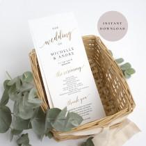 wedding photo - Gold Wedding program template, Wedding ceremony program, Wedding programs, Ceremony program instant download, Printable wedding program