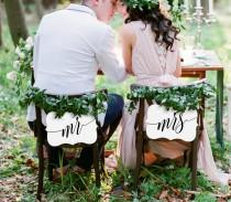 wedding photo - Printable Mr and Mrs Chair Sign, Wedding Chair Sign, DIY Bride and Groom Sign, Hanging Chair Sign, Instant Download, Digital File #103CS
