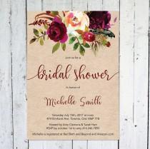 wedding photo - Fall Bridal Shower Invitation, Bridal Shower Invitation, Maroon, Floral, Rustic, Kraft Paper, Printable, Printed, Marsala, Burgundy