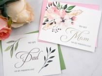 wedding photo - Set of 2, To My MOM Card, To My DAD Card, Mother of the Bride Card, Father of the Bride Card, Mother of the Bride Gift, Father Gift