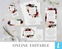 wedding photo - Burgundy Wedding Invitation Template Set, Printable Invites, Instant Download Digital Editable Suite Navy Blush Peony Rose, Brianna Templett
