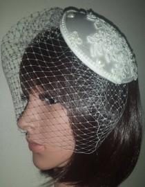 "wedding photo - Ivory birdcage veil 9"". Juliet cap with lace pearls hearts and bows and beaded applique motif. FREE UK POSTAGE"