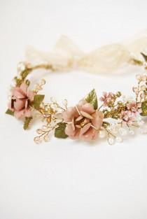 wedding photo - Pink flower hair crown, Wedding hair crown, crystal and pearl headband, bohemian bride, woodland head wreath, rustic wedding, hair accessory