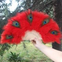 wedding photo - 55*30cm Red Yellow Peacock Feather Hand Fans Marabou Feather Hand Fans Peacock Feather Floral Fan Bouquet