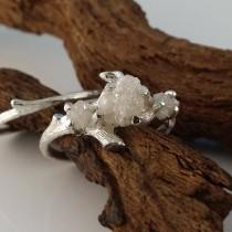 wedding photo - White Gold Raw Three Rough Diamond Engagement Ring Set, Rough Raw Diamond Wedding Ring Set, Hand Sculpted Engagement Rings by Dawn Jewelry
