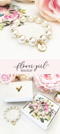 wedding photo - Flower Girl Bracelet Personalized Flower Girl Bracelet Pearl Flower Girl Gift Ideas Personalized Girls Bracelet (EB3277M) Bracelet for Girls