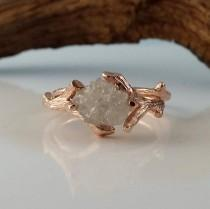 wedding photo - Rose Gold Bridal Set with White Raw Diamond, Engagement Ring, Diamond Wedding Ring Set Hand Sculpted by Dawn Vertrees Twig Engagement Rings