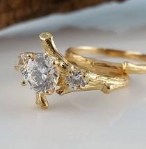 wedding photo - Moissanite Engagement Ring set, Hand Made Branch Style Three Round Moissanite Wedding Ring Set, bridal band set by Dawn Vertrees Engagement