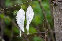 wedding photo - White leather feather earrings, boho wedding earrings decor, angel wings, bird earrings, hand cut feather earrings, long boho earrings