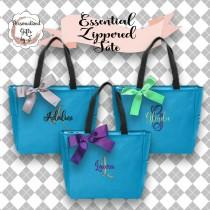 wedding photo - 6 Personalized Bridesmaid Gift Tote Bags, Wedding Day Totes, Bridal Party Gifts, Bridesmaids Tote, Monogrammed Tote Bags, Personalized Gift
