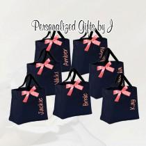 wedding photo - 14 Personalized Bridesmaid Tote Bags Personalized Tote, Bridesmaids Gift, Monogrammed Tote