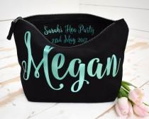 wedding photo - Cosmetic Make Up Bag - Personalised Hen Party Gift, Hen Do present, Bachelorette party Gift, Unique Gift for Bridal Party, Party Favour Bags