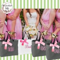 wedding photo - Set of 2 Bridesmaid Gift, Monogrammed Tote Bags, Personalized Bridesmaids Bags, Wedding Tote Bag, Maid Of Honor Gift, Mother of the Bride