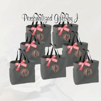 wedding photo - 9 Personalized Bridesmaid Tote Bags Monogrammed Tote, Bridesmaids Tote, Personalized Tote, Monogrammed Tote Bag, Bridesmaid Gift Bags