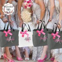 wedding photo - 8 Personalized Bridesmaid Tote Bags Monogrammed Tote, Bridesmaids Tote, Personalized Tote, Monogrammed Tote Bag, Bridesmaid Gift Bags