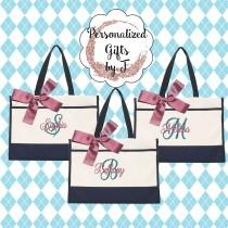 wedding photo - 6 Bridesmaid Gifts Monogrammed Tote Bag Monogrammed Tote, Bridesmaid Tote, Personalized Tote Wedding