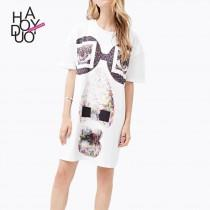 wedding photo - Oversized Vogue Printed Edgy Casual Color Dress Skirt - Bonny YZOZO Boutique Store