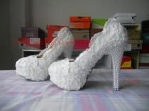 wedding photo - White/Ivory Lace Pearls Women Wedding Shoes High Heels Handmade Bridal Shoes Platform Shoes Bling Heels