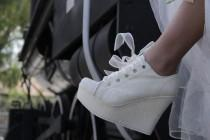 wedding photo - wedding platform shoes, bride sneakers, wedding sneakers for bride, wedding platform shoes, platform sneakers, bridal shoes, bridal sneakers