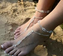 wedding photo - Crystal Wedding Foot Jewelry Slave Anklet Foot Thong Beach Wear Crystal Bridal Barefoot Bridesmaid Gift Bride Foot Jewelry Beach Wedding