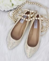 wedding photo - Women Wedding Shoes, Bridesmaid Shoes - CHAMPAGNE LACE Pointy Toe ballet flats with scattered rhinestones