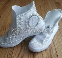 wedding photo - Womens Wedding Converse,Bridal Converse, Pearl Converse, Bling Converse, Etsy Wedding, Rhinestone Converse, Beaded Converse, All White
