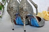 wedding photo - Silver Glitter Wedding Shoes with Metal Leaf Detailing. Handmade Sandals Heels with Cinderella Soles. Various Colours