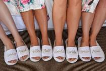 wedding photo - Bridesmaid Slippers Personalised Wedding Slippers Bride slippers , Bridesmaid Gift, Bridal Party , Hen Weekend  Open Toes Spa Slippers