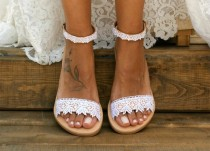 "wedding photo - Handmade to order/ white lace sandals/ bridal sandals/ wedding shoes/  wedding sandals/ white lace shoes/ beach sandals/ ""ROMANTIC LACE"""
