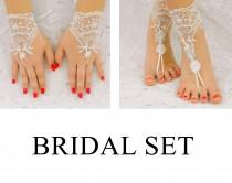 wedding photo - Bridal Set,  Beach Wedding Barefoot Sandals, Wedding Gloves, MarrietDress 03