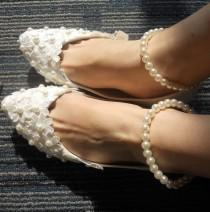 wedding photo - Custom Ivory Satin Lace Flowers Women Wedding Shoesd Pearls Bandage Sexy Satin Women Shoes Flat Heels Comfortable Dacing Shoes