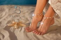 wedding photo - Bermuda Beach wedding barefoot sandals, Bridal foot jewelry, Starfish barefoot sandles, Beach shoes, Footless sandals, Bridesmaid gift