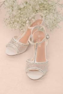 a3f660824a2e0 Beautiful Bridal Low Heeled Wedding Sandal with Clear Rhinestones