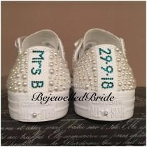 wedding photo - Personalised White Wedding Converse, White with white Pearl, all sizes available