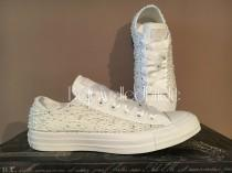 wedding photo - Gorgeous white wedding converse with pearl and swarovksi crystal, all sizes available.