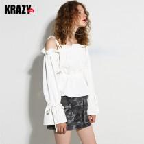 wedding photo - Off-the-Shoulder Lace Up Fall Edgy Frilled White Blouse Top - Bonny YZOZO Boutique Store