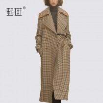 wedding photo - British Style Double Breasted Wool Lattice Suit Tie Wool Coat Overcoat - Bonny YZOZO Boutique Store