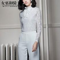 wedding photo - Must-have Hollow Out Crochet Spring Frilled 9/10 Sleeves Lace Top Chiffon Top Essential - Bonny YZOZO Boutique Store
