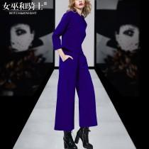 wedding photo - 2017 new simple woolen jacket for fall/winter suit wide leg Pant Women's clothing - Bonny YZOZO Boutique Store
