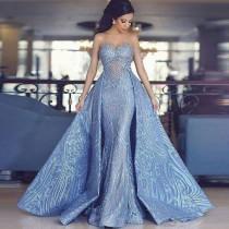 wedding photo - Luxury Blaues Abendkleid A Linie Spitze Abendkleider Günstig Online Modellnummer: XY188