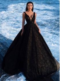 wedding photo - Elegant Abendkleider Lang Schwarz Spitze A Linie Abendmmoden Abiballkleider Modellnummer: XY165