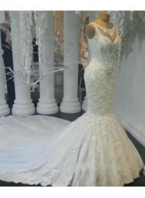 wedding photo - Modern Weiße Brautkleider Spitze Meerjungfrau Hochzeitskleider Bodenlang Günstig Modellnummer: XY194