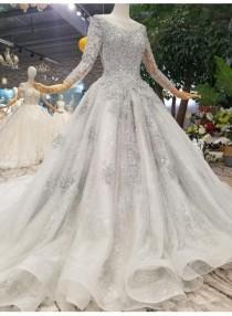 wedding photo - Fashion Silver Brautkleider Mit Ärmel Spitze Hochzeitskleider A Linie Online Modellnummer: XY190