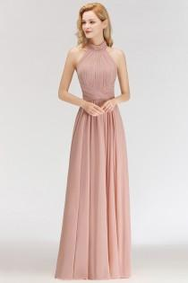 wedding photo - Modern Rosa Long Chiffon Brautjungfernkleider Etuikleid Kleider für Brautjunfern Modellnummer: BM0043