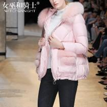 wedding photo - Slimming Fur Collar Duck Down Winter Feather jacket Hat - Bonny YZOZO Boutique Store