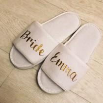 wedding photo - Bride Slippers, Personalised, Bridal, wedding, open toe, hen do, wedding party, bridesmaid, mother of the bride groom, spa, towelling